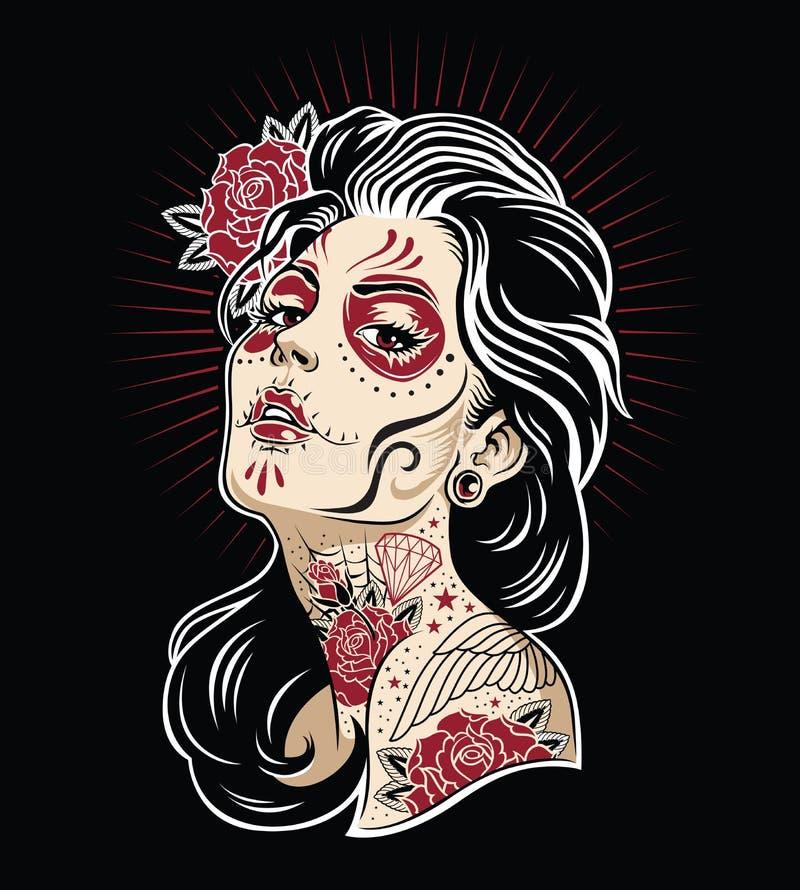 День мертвой иллюстрации вектора цвета девушки 3 иллюстрация штока