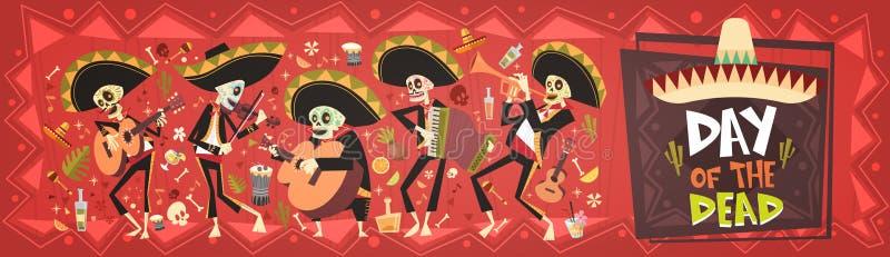 День мертвой традиционной партии праздника хеллоуина Dia De Лос Muertos мексиканца бесплатная иллюстрация