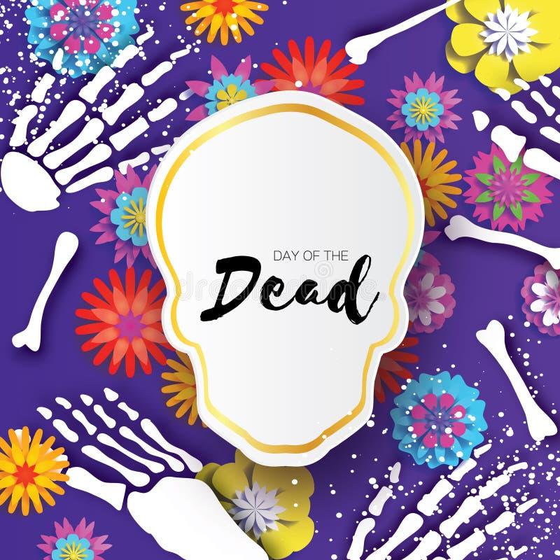 день мертвый Рамка черепа отрезка бумаги для мексиканского торжества Традиционный скелет Мексики Голубые глаза диаманта Dia de бесплатная иллюстрация
