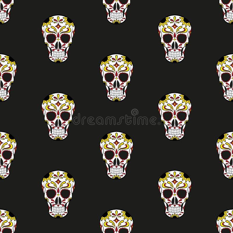 день мертвый Череп мексиканско иллюстрация вектора