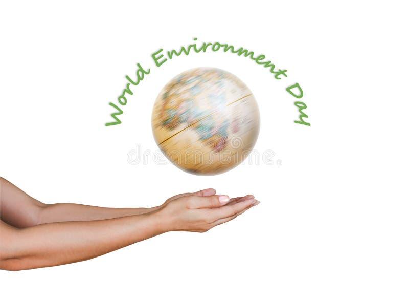 День мира экологический с закручивая удерживанием глобуса и руки стоковое фото rf