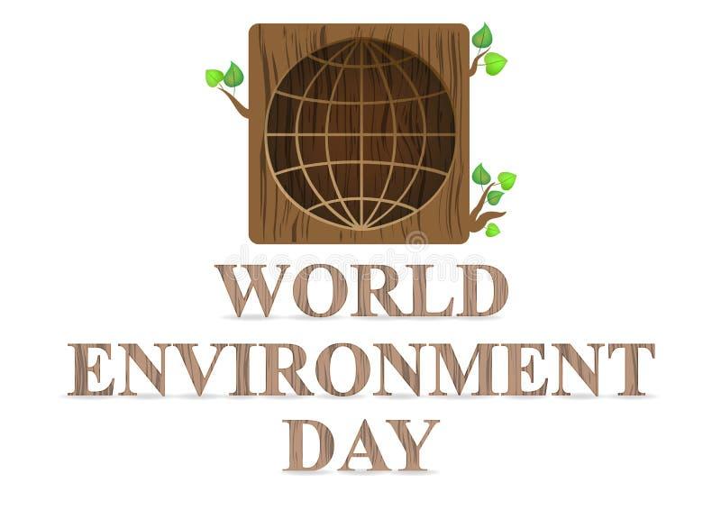 День мировой окружающей среды на белой предпосылке Плакат, крышка, карта, дизайн печати иллюстрация штока