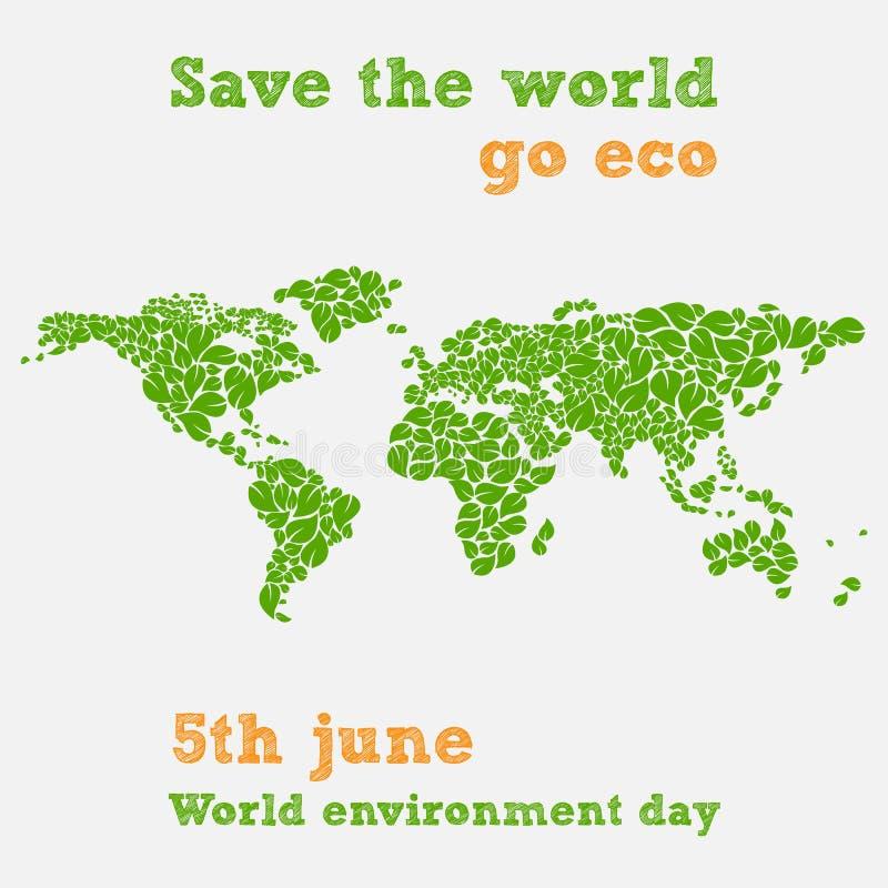 День мировой окружающей среды - пятое -го июнь, сохраняет иллюстрацию мира иллюстрация вектора