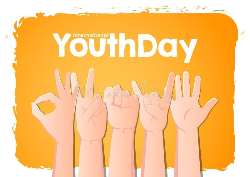 День молодости вектора запаса международный, руки 12-ое августа вверх на оранжевой предпосылке иллюстрация штока