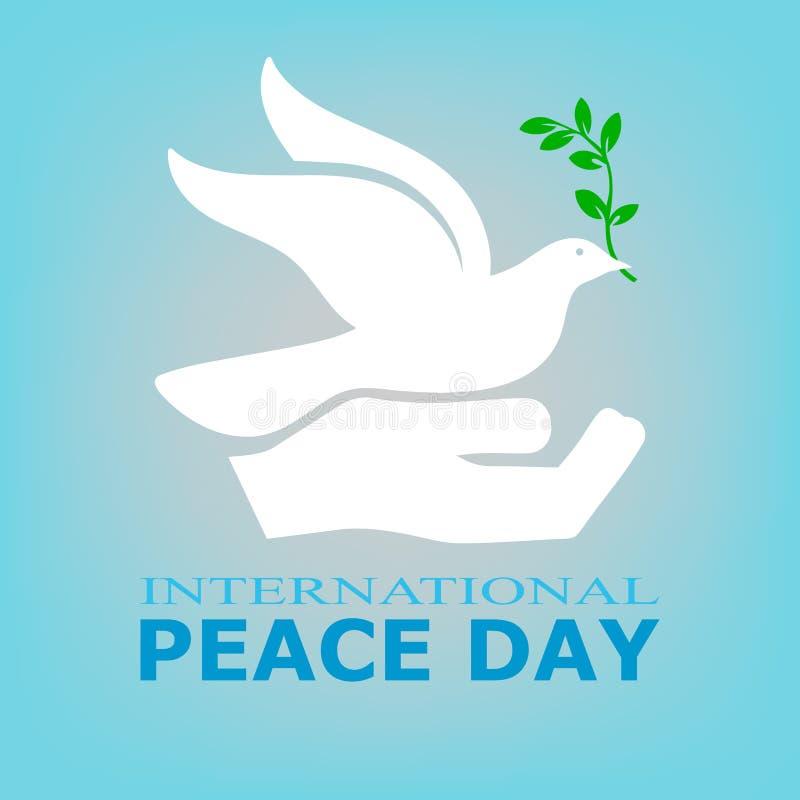 День национального праздника мира, международного мира, отсутствие войны Плакат дня мира во всем мире, векторные графики иллюстрация вектора