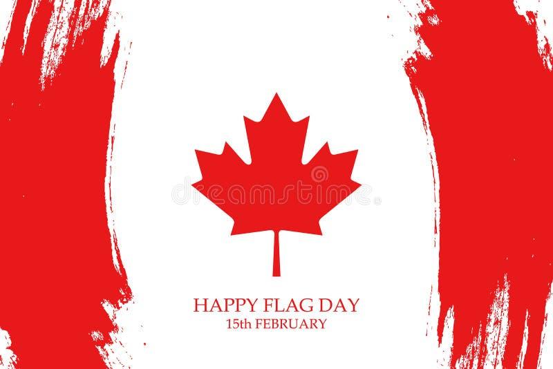 День национального флага поздравительной открытки Канады с ходами щетки в цветах канадского национального флага иллюстрация штока