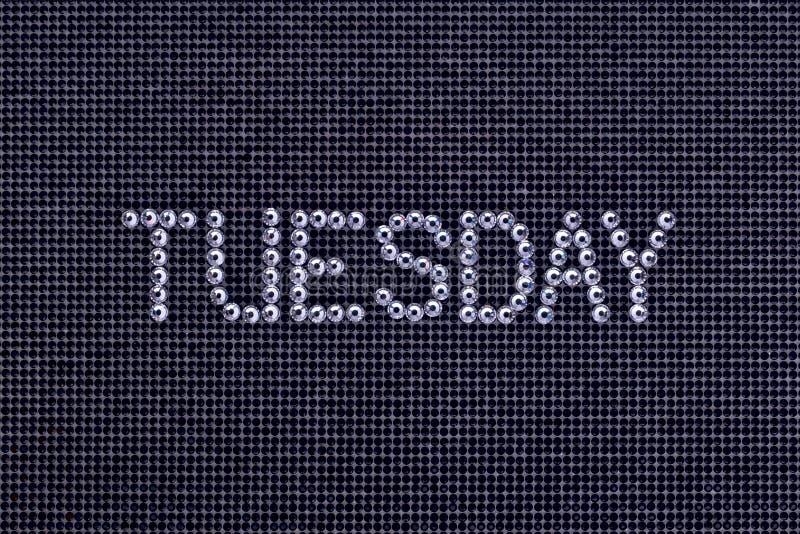 День недели, слово ВТОРНИК сделан цветом кристалла стразов стоковые изображения rf