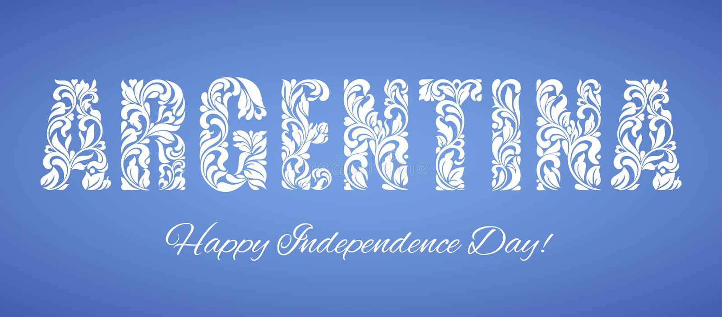 День независимости Аргентины Декоративный шрифт сделанный в свирлях и флористических элементах бесплатная иллюстрация