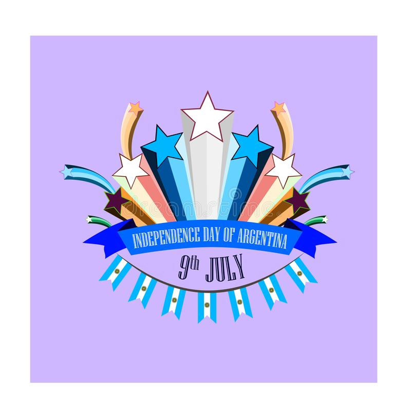 День независимости Аргентины, иллюстрации с стилизованными праздничными фейерверками иллюстрация вектора
