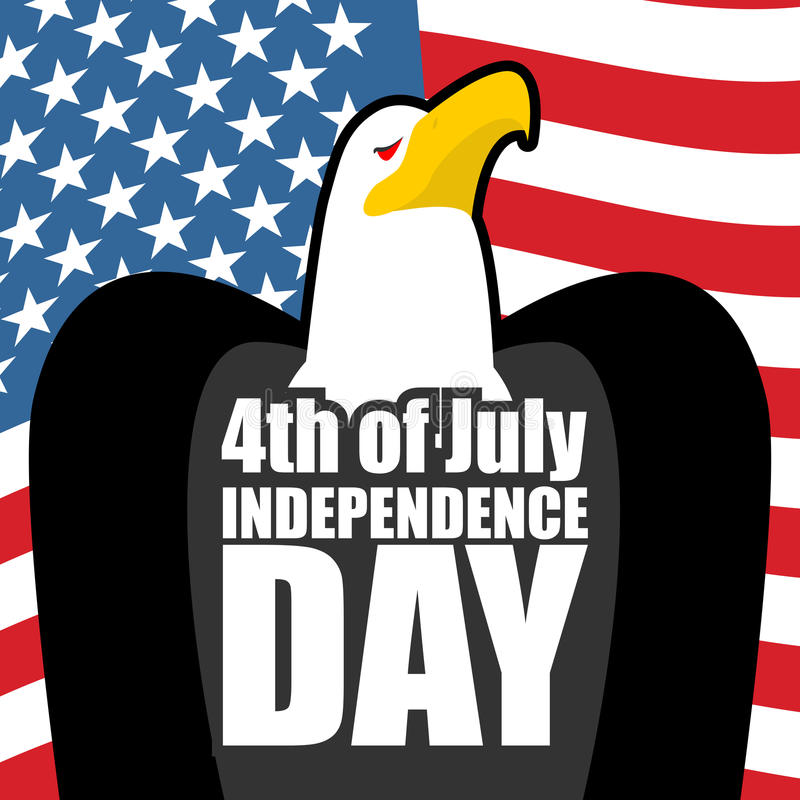 День независимости в Америке флаг США орла Праздник положения патриотический иллюстрация штока