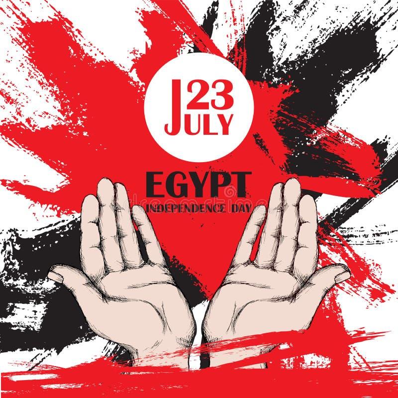 День независимости Египта 23-ье июля Национальный патриотический праздник высвобождения в Северной Африке Раскройте руки человека бесплатная иллюстрация