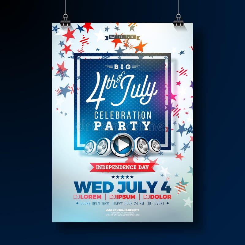 День независимости иллюстрации рогульки партии США с падая красочной звездой Vector четверть дизайна в июле на сини иллюстрация вектора