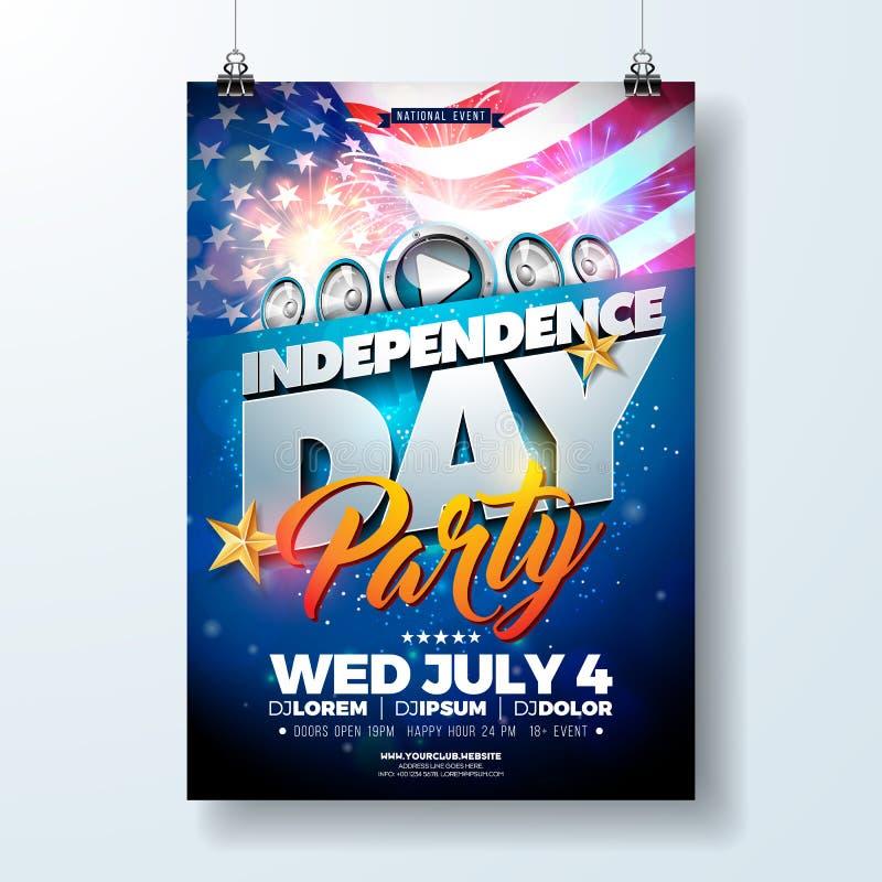 День независимости иллюстрации рогульки партии США с флагом и лентой Vector четверть дизайна в июле на темноте иллюстрация вектора