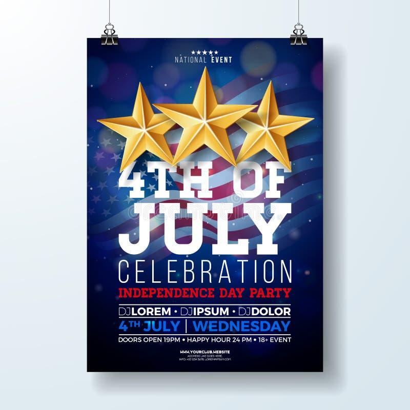 День независимости иллюстрации рогульки партии США с флагом и лентой Vector четверть дизайна в июле на темноте иллюстрация штока