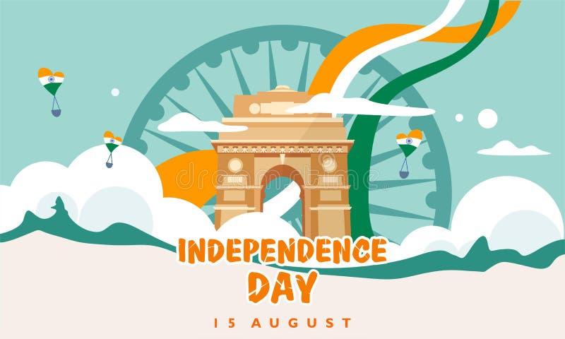 День независимости Индии Ворота 15-ое августа Индии здание наследия Для поздравительной открытки, шаблон знамени и плаката Illust иллюстрация штока