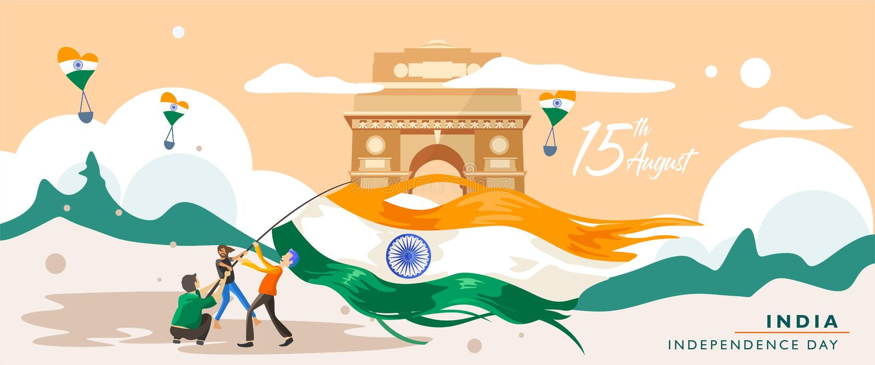 День независимости Индии Здание наследия ворот 15-ое августа Индии Поздравительная открытка, знамя и шаблон плаката люди campai бесплатная иллюстрация