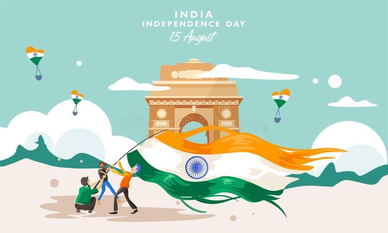 День независимости Индии Здание наследия ворот 15-ое августа Индии Поздравительная открытка, знамя и шаблон плаката Illust людей  иллюстрация штока