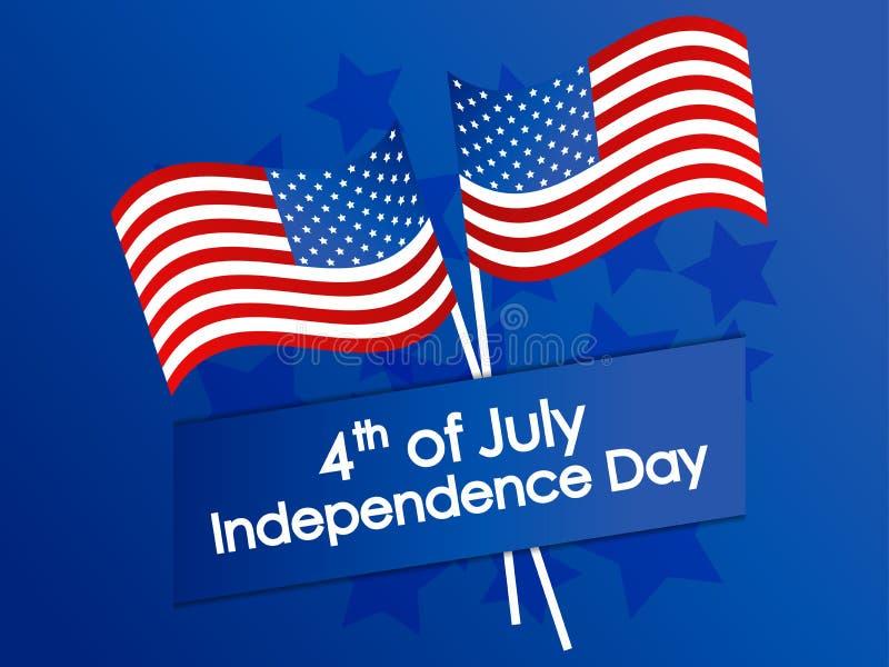 День независимости 4-ое -го июль Праздничное знамя со звездами и мы флаг r иллюстрация вектора