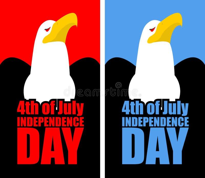 День независимости 4-ое июля Америки Установите раскрытый с орлом иллюстрация штока