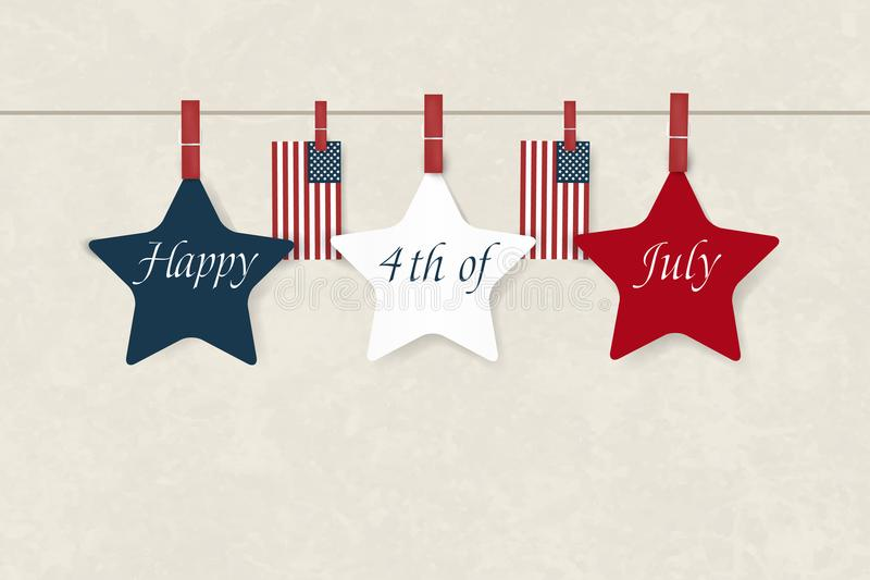 День независимости США четвертое -го июль Американская патриотическая иллюстрация Предпосылка шаблона дизайна с американским флаг бесплатная иллюстрация