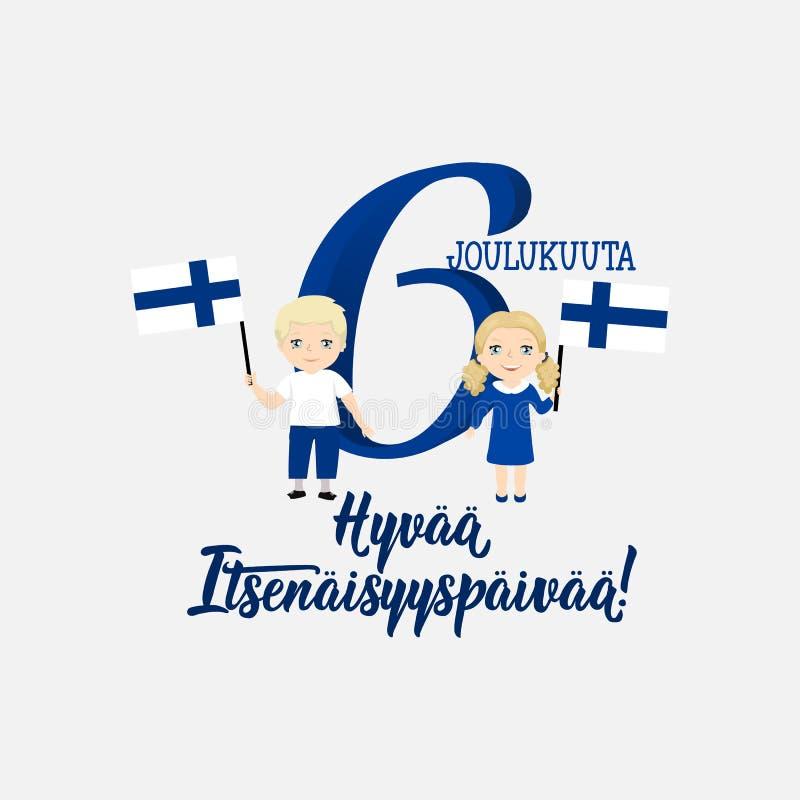 День независимости Финляндии Перевод от финского: 6-ое декабря, счастливый День независимости поздравительная открытка с детьми иллюстрация вектора