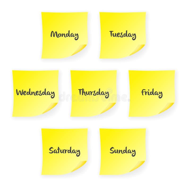 День недели примечания ручки иллюстрация вектора