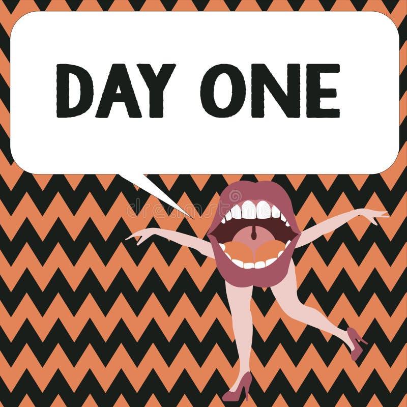 День одно текста сочинительства слова Концепция дела для начала первого шага момента старта события программы план-графика иллюстрация штока