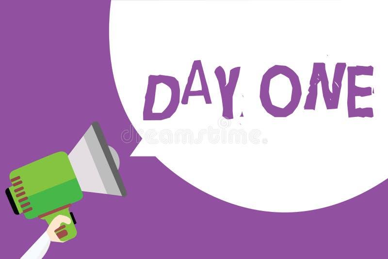 День одно текста сочинительства слова Концепция дела для начала первого шага момента старта удерживания человека события программ иллюстрация штока