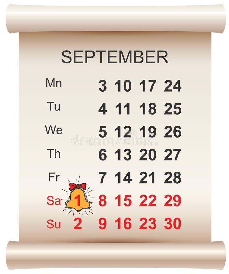 День 1-ое сентября календаря и колокола знания школа дня первая иллюстрация штока