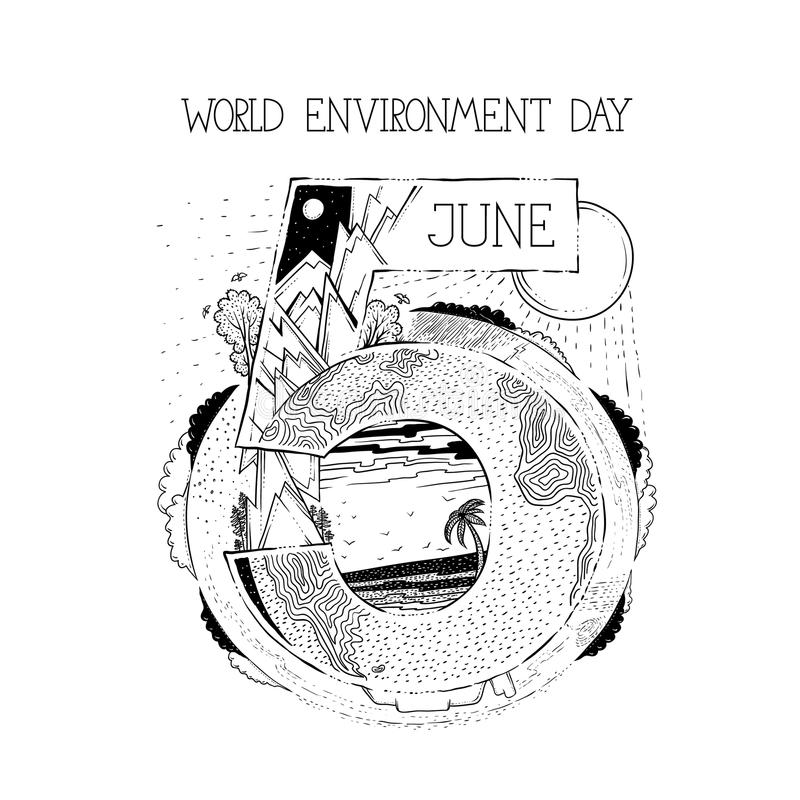 День окружающей среды карточки или плаката на пятого -го июня Ландшафт от различных частей мира Леса солнце и облака гор иллюстрация штока