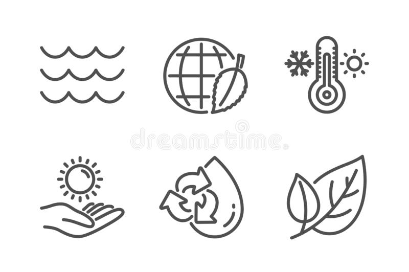 День окружающей среды, повторно использует набор значков воды и предохранения от Солнца Знаки волн, термометра и лист r иллюстрация вектора