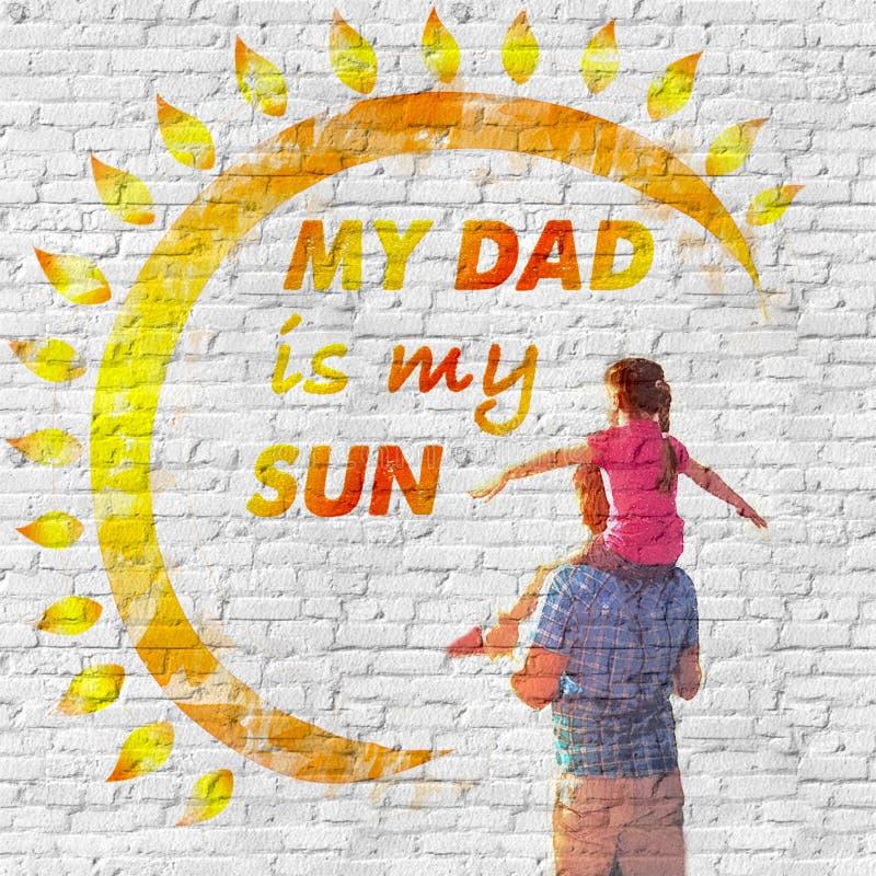 День отца Сообщение любов на стене стоковые фото