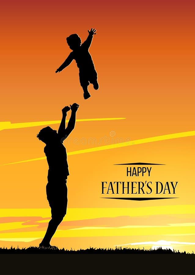 День отца s Силуэт отца бросает его сына иллюстрация вектора