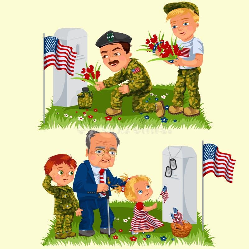 День памяти погибших в войнах, взрослый человек с детьми в воинском кладбище около могилы с белым памятником к ветерану, мальчик  бесплатная иллюстрация