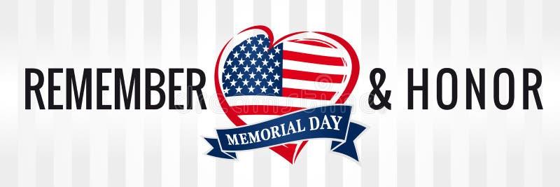 День памяти погибших в войнах, вспоминает & удостаивает с флагом США в знамени сердца бесплатная иллюстрация