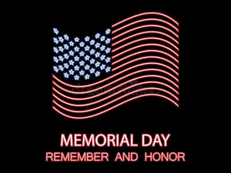 День памяти погибших в войнах Вспомните и удостойте Неоновый флаг Соединенных Штатов Накаляя знак r бесплатная иллюстрация