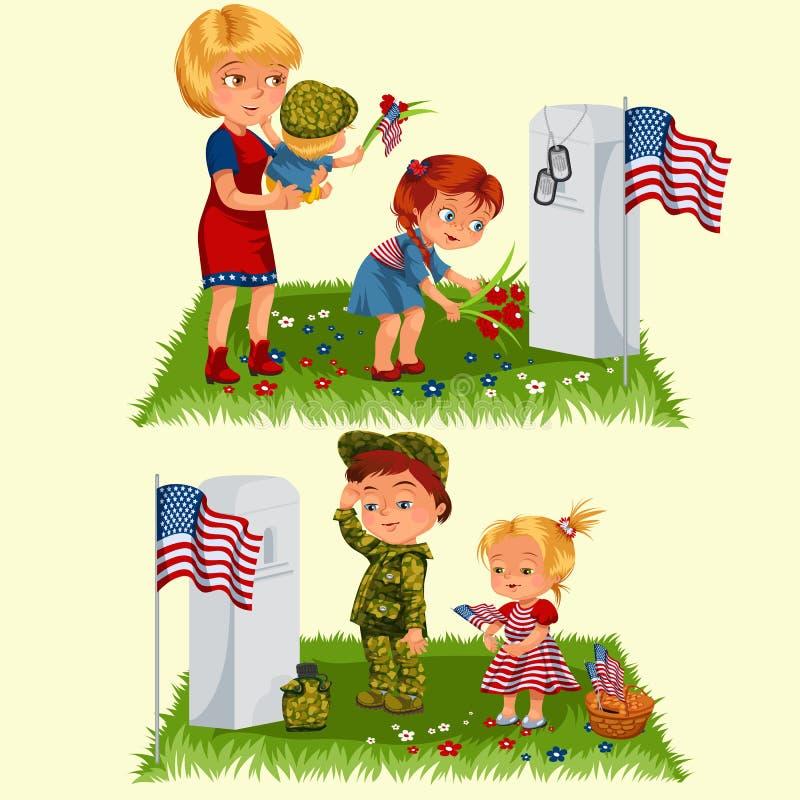 День памяти погибших в войнах, мать с ребенком на кладбище, маленькая девочка кладет цветки на могилу, жену семьи с удостаивать д иллюстрация вектора