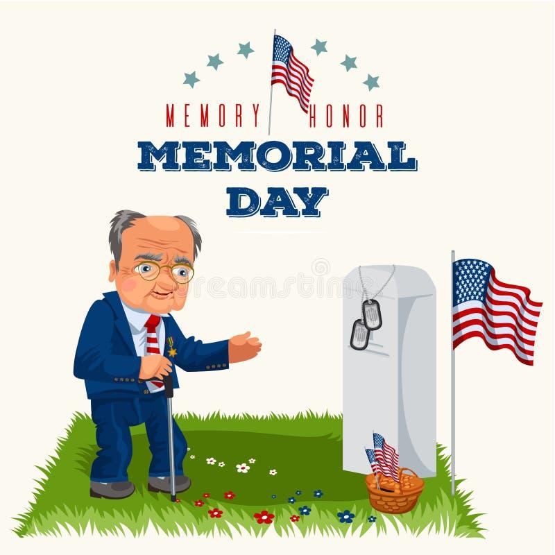 День памяти погибших в войнах, старший человек на воинском кладбище около могилы с белым памятником к ветерану, памяти и вспомина иллюстрация вектора