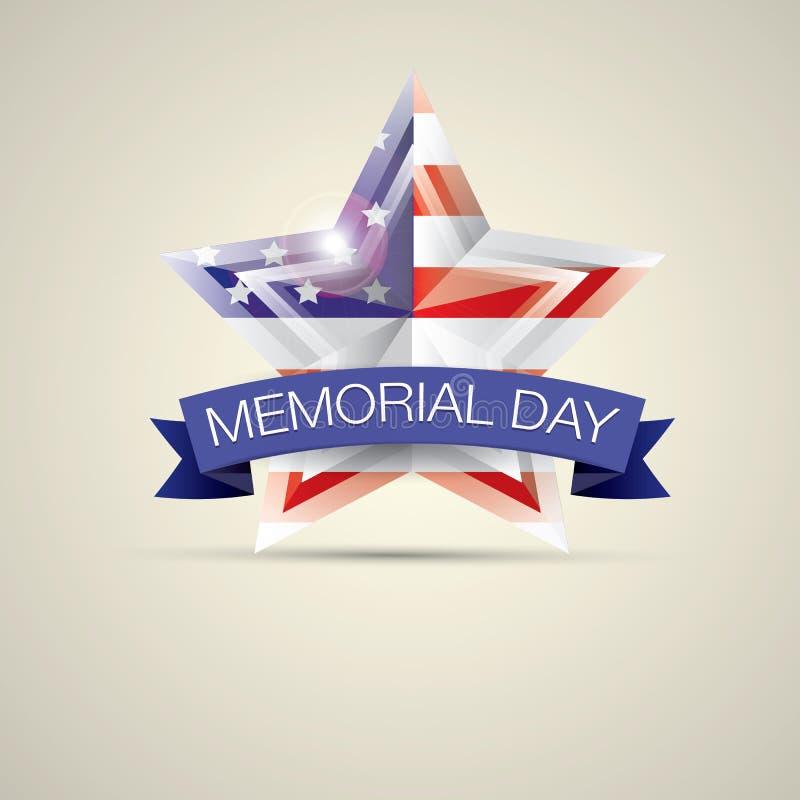 День памяти погибших в войнах с звездой в цветах национального флага иллюстрация штока
