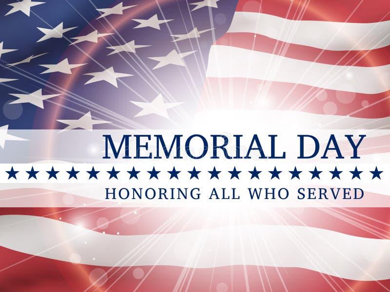 День памяти погибших в войнах, удостаивая всех которые служили - плакат с флагом Соединенных Штатов Америки иллюстрация вектора