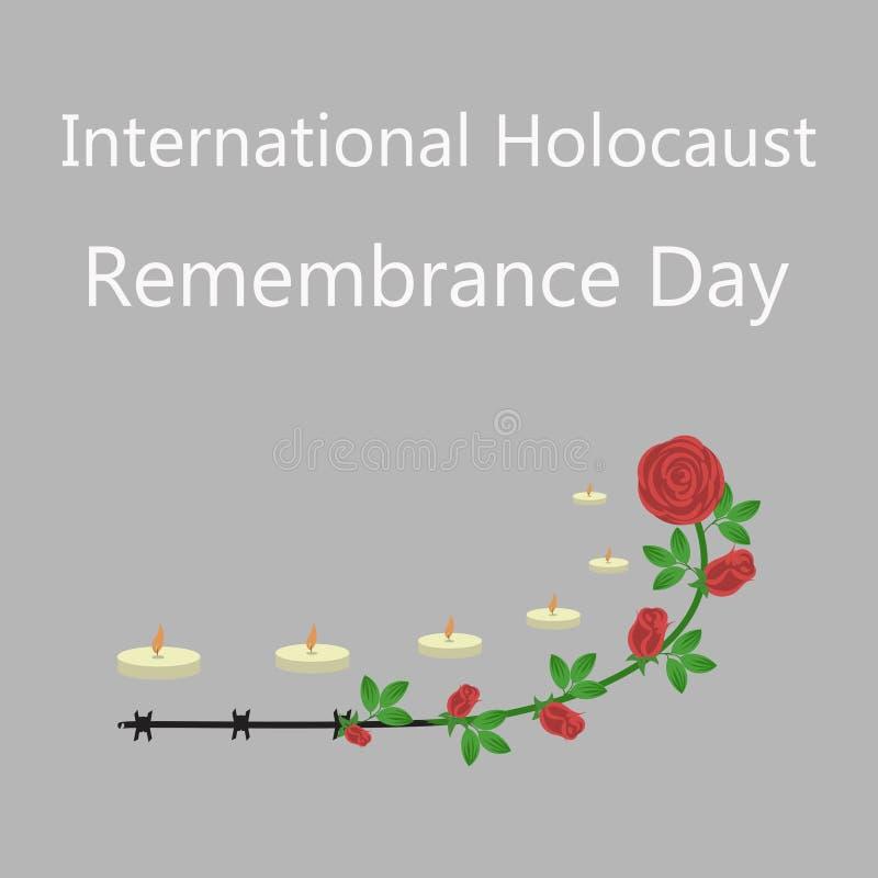 День памяти погибших в первую и вторую мировые войны оставшийся в живых холокоста иллюстрация вектора