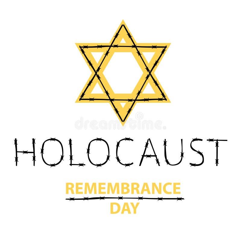 День памяти погибших в первую и вторую мировые войны холокоста вектора 27-ое января иллюстрация штока