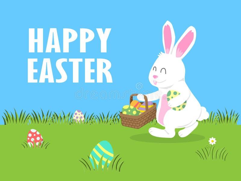 День пасхи, радостный белый зайчик Egg звероловство в дворе иллюстрация вектора