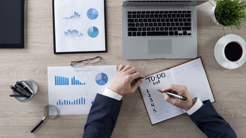 День планирования бизнесмена в офисе идя написать его список дел, взгляд сверху стоковое изображение