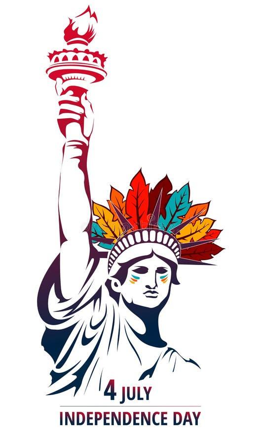 День праздника независимости 4-ое июля торжества апаша свободы счастливый иллюстрация штока