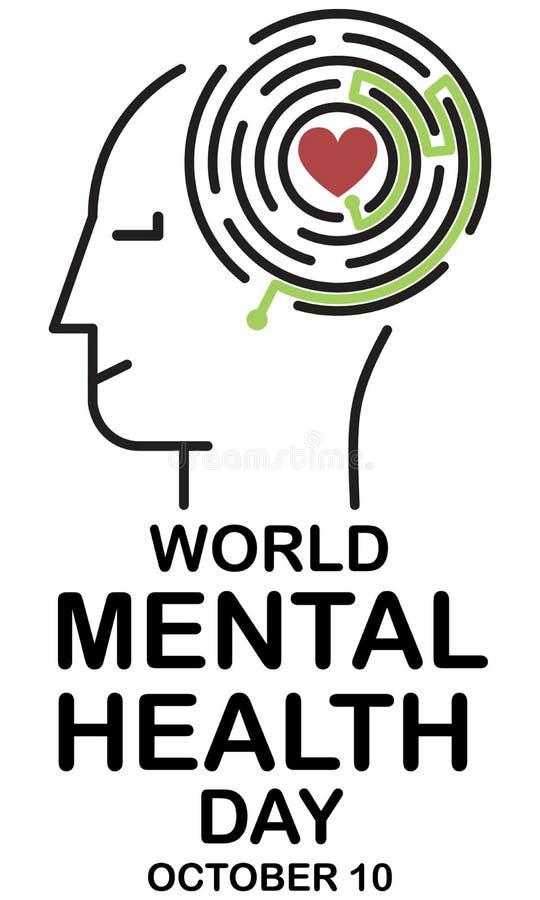 День психических здоровий иллюстрация штока