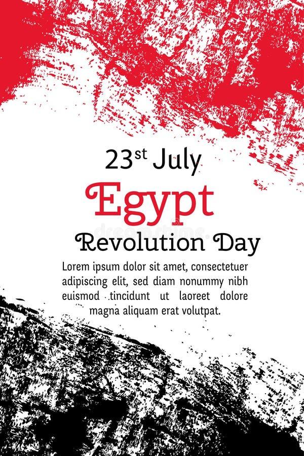 День революции Египта иллюстрации вектора Египетский флаг в ультрамодном стиле grunge Шаблон дизайна 23-ье июля для плаката бесплатная иллюстрация