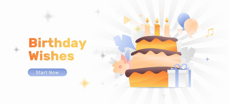 День рождения желает знамя иллюстрация вектора