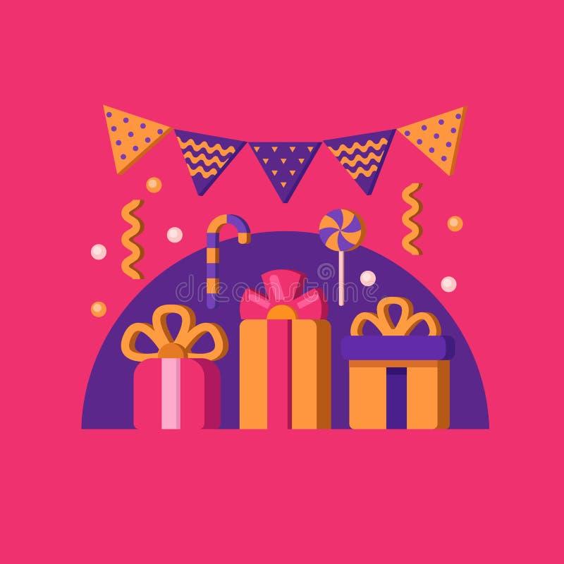 день рождения знамени счастливый иллюстрация штока