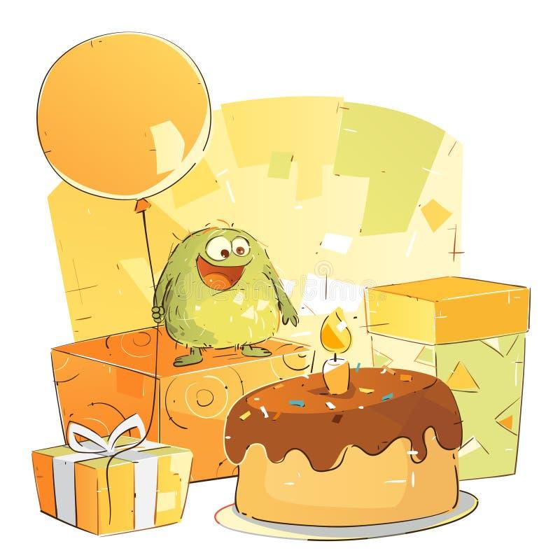 День рождения маленького чудовища бесплатная иллюстрация